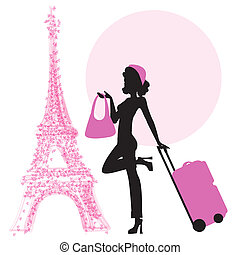 young woman with suitcase in Paris