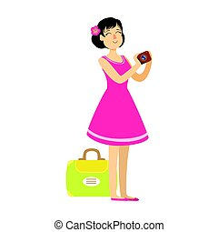 Young woman with suitcase wearing in a pink dress and holding camera in her hands. Colorful cartoon character