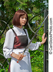 Young woman with sword 1
