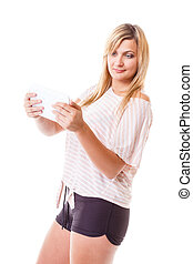Young woman with tablet isolated
