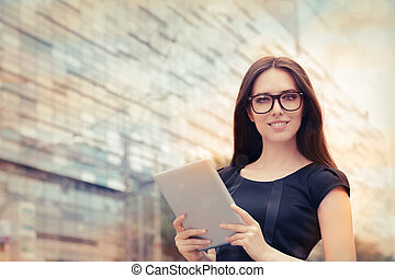 Young Woman with Tablet Outside