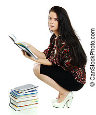 young woman with the book in hands