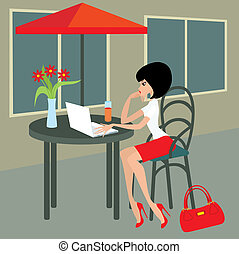Young woman with the laptop in cafe