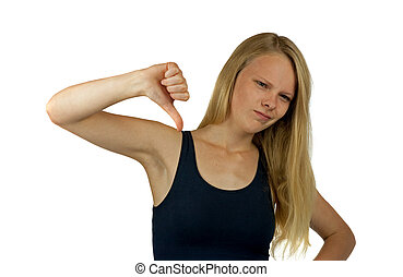 Young woman with thump down gesture on white background