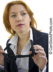 young woman with tie