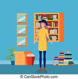 young woman with tophat standing in the library vector...