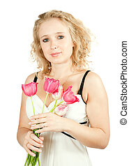 woman with tulip flowers