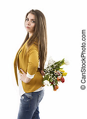 young woman with tulips isolated on a white background