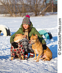 Young woman with two American Pit Bull Terrier winter