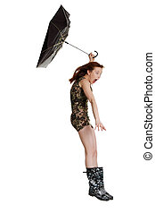 Young woman with umbrella blown by wind. Isolated on white ...
