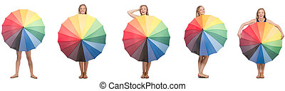 Young woman with umbrella isolated on white