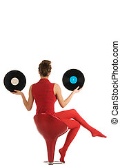 Young woman with vinyl record