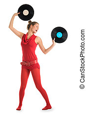 Young woman with vinyl records
