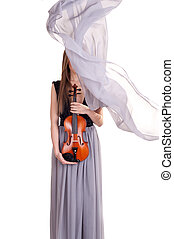 young woman with violin in hands and a beautiful silk scarf blown by the wind covers her face