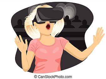 Young woman with virtual reality goggles in cinema - Young...