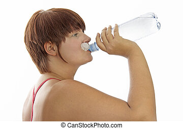 Young woman with water bottle - Young woman with red shirt...