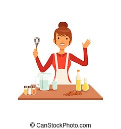Young woman with whisk baking, housewife girl cooking food in the kitchen flat vector Illustration