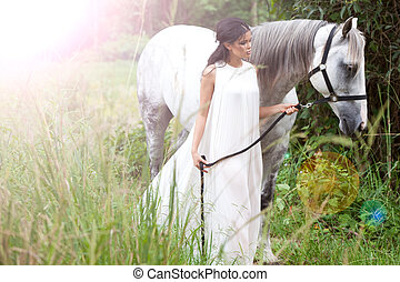 Young Woman with White Horse