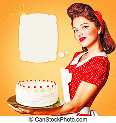 Young woman with white sweet cake in her hands.Retro poster for text