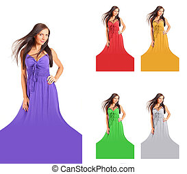 Young woman with wind in her long dark hair, in purple dress isolated on white background. Dress color can be changed to red, yellow, green, silver or any other easily with hue and saturation tool.