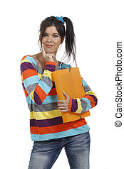 Young woman with work portfolio