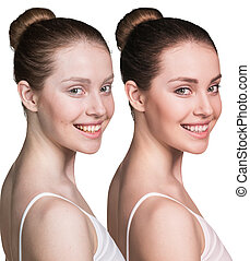 Young woman without and with makeup - Comparison portrait of...