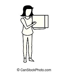 young woman without face cartoon in black and white