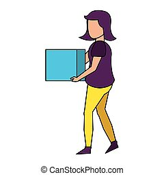 young woman without face cartoon