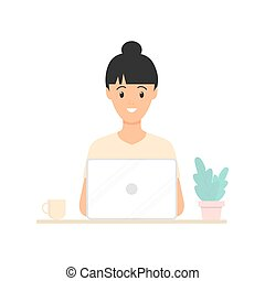 Young woman working at a laptop. Freelance work