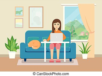 Young woman working at home. Flat style