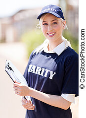 young woman working for a charity