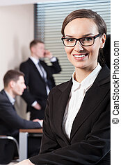 Young woman working in business centre