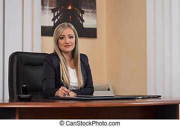 Young Woman Working On Computer In Office