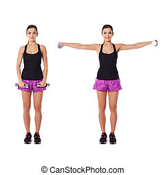 Young woman working out with dumbbells