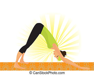 "Young woman working out yoga so called ""dog pose"""