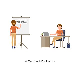 Young woman writing on whiteboard, sitting at the office desk cartoon character