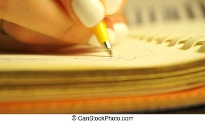 Young woman writing several lines in her planner. Macro...
