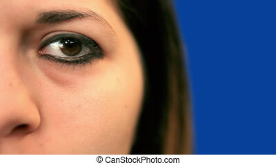 Young womans left eye, close-up