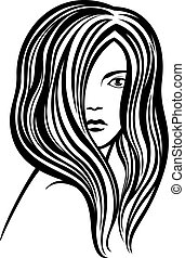 Young woman's portrait line-art ill