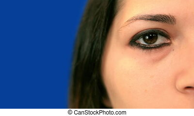Young womans right eye, close-up