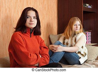 young women after quarrel