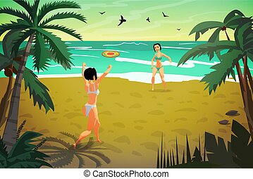 Young women are engaged in sports on the beach. Girls in a bikin