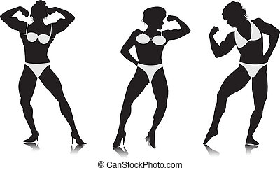 Young women bodybuilder silhouettes. Vector
