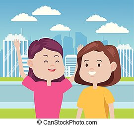 young women characters in the city