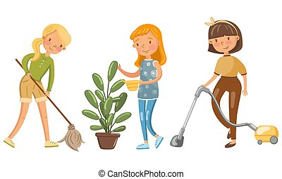 Young women clean up the house. Vector illustration.