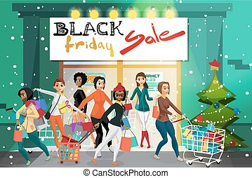 Young women coming out of the supermarket with shopping on the day of Black Friday sales. ?rowd of girls on the porch of a store with gifts. Cartoon style vector illustration