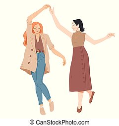 Young women dancing Summer leisure activity Vector. - Young...