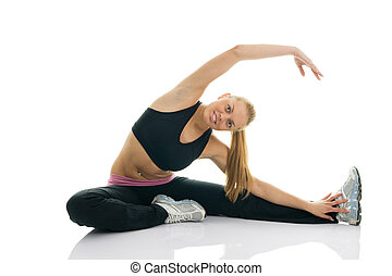 Young women doing core stretch