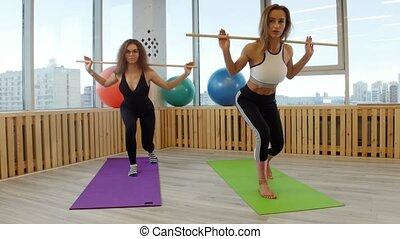 Young women doing fitness. Squating holding a stick. Mid...