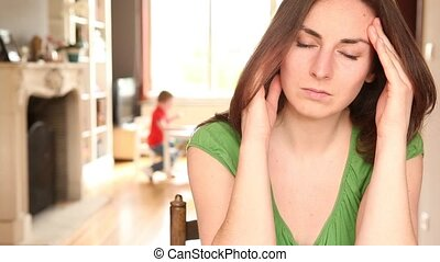 young women feeling unwell - a young women is suffering from...